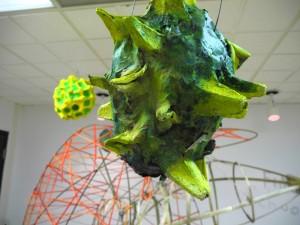 """Bee the flower"" installation, detail of pollen model"